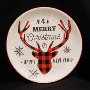 Ceramic Plate with Red & Black Checked Reindeer