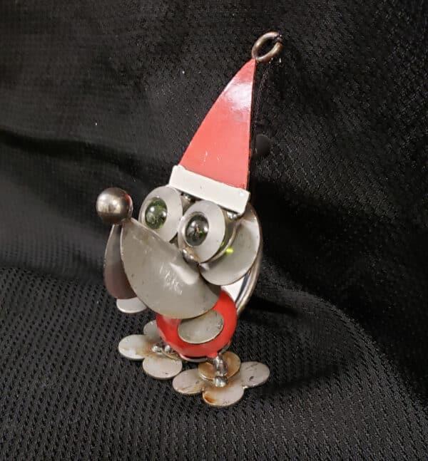 Metal dog with Santa hat
